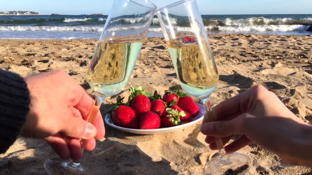 young couple toasting on beach - aperitif stock videos & royalty-free footage