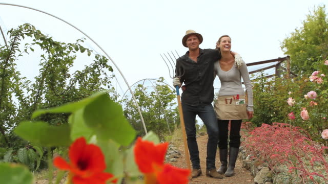 ws young couple together in beautiful garden / big sur, california, usa - 20 24 years stock videos & royalty-free footage