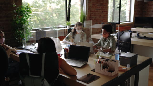 young coworkers exchanging ideas at office during pandemic - employee stock videos & royalty-free footage