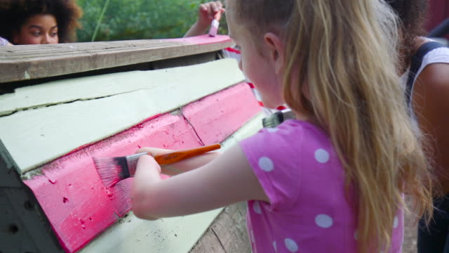 young disabled girl painting chicken coop - persons with disabilities stock videos & royalty-free footage