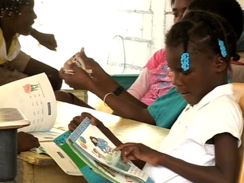young earthquake victims at school two months after disaster haiti 11 march 2010 - hispaniola stock videos & royalty-free footage
