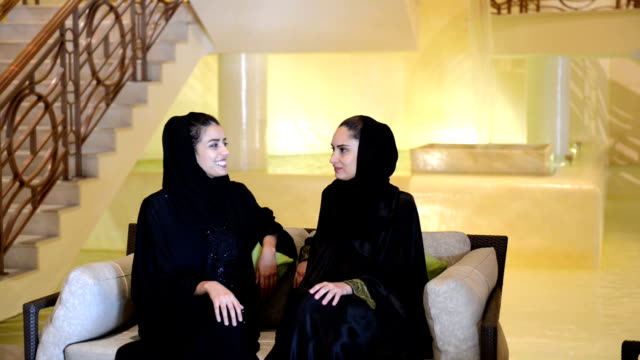 Young Emirati women in a SPA lobby