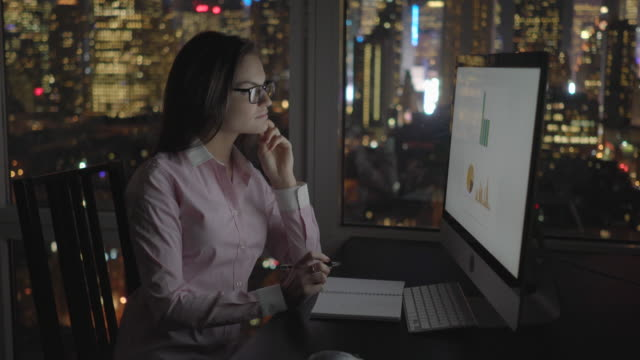 Young Employee Working in Office at Night. View with Skyscrapers and City Lights. Banking, Trade, Economy and Profit.