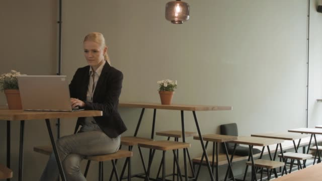 young entrepreneur working in cafe - dreiviertelansicht stock-videos und b-roll-filmmaterial