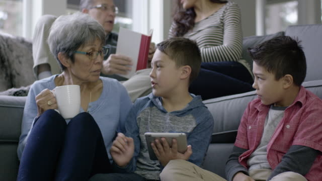 Young Ethnic Boys Helping their Grandmother with Technology