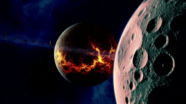 young exoplanet with moon and ring - lava stock videos & royalty-free footage