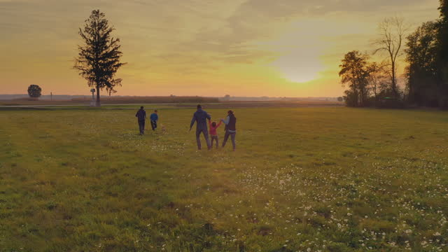 aerial young family having fun running on a meadow at sunset - family with three children stock videos & royalty-free footage