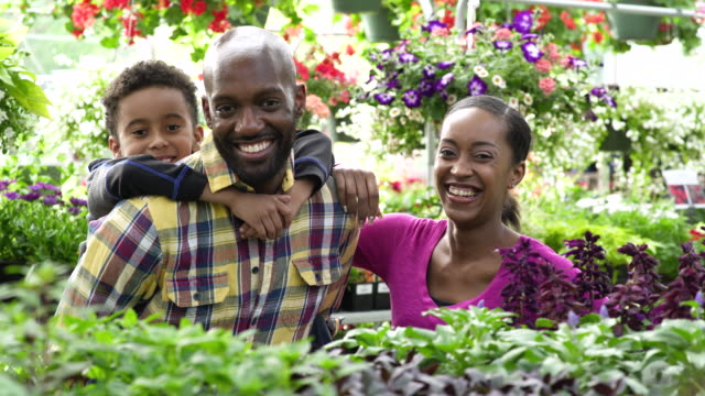 young family looking at camera while standing in a greenhouse - whidbey island shop stock videos and b-roll footage