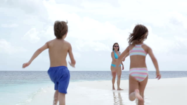 young family of four walking on the beach - family with four children stock videos and b-roll footage