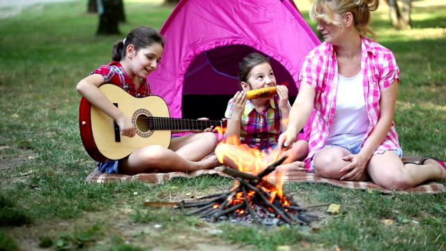 young family on a camping - girl cross legged stock videos & royalty-free footage