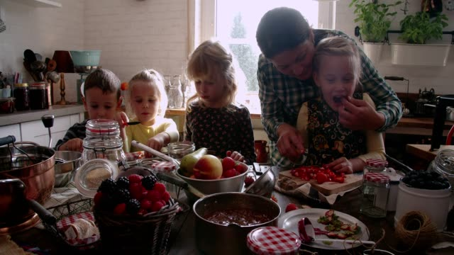 young family preparing homemade berry jam and canning in jars - canning stock videos & royalty-free footage