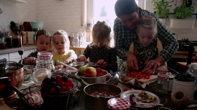 若い家族が自家製のベリーのジャムと缶詰の jar ファイルの準備 - 缶詰にする点の映像素材/bロール