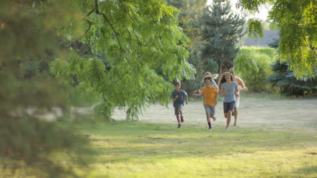 young family running together outdoors - five people stock videos & royalty-free footage