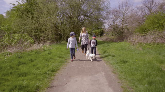 Young family walking with their dog