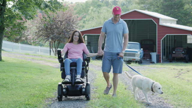 young family with dog go for a walk on a country road - wheelchair stock videos and b-roll footage