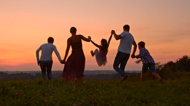 slo mo young family with three children having fun on a meadow at sunset - family with three children stock videos & royalty-free footage