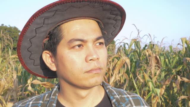 vídeos y material grabado en eventos de stock de retrato de jóvenes agricultores en el campo de maíz - contenedor de muestras