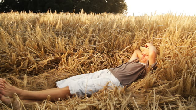 HD: Young Farmer Resting In Wheat