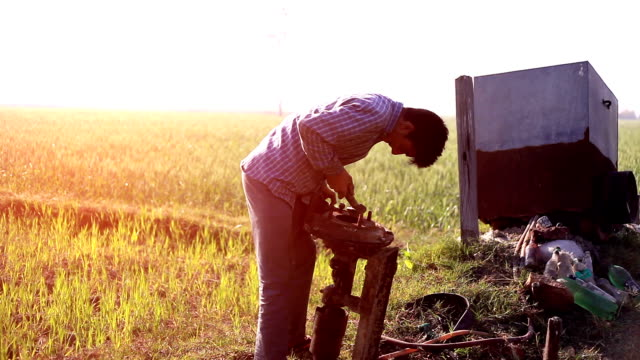 young farmer working in the field - farm stock videos and b-roll footage