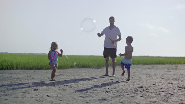 young father, daughter, son and puppy play with bubbles in coastal marsh. - badbyxor bildbanksvideor och videomaterial från bakom kulisserna