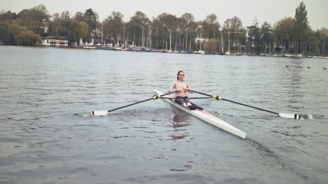 young female athlete sculling boat in river - sculling stock videos & royalty-free footage