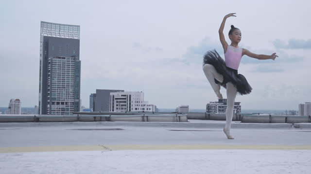 young female ballet dancing on top building , graceful woman spinning in ballet - smooth stock videos & royalty-free footage