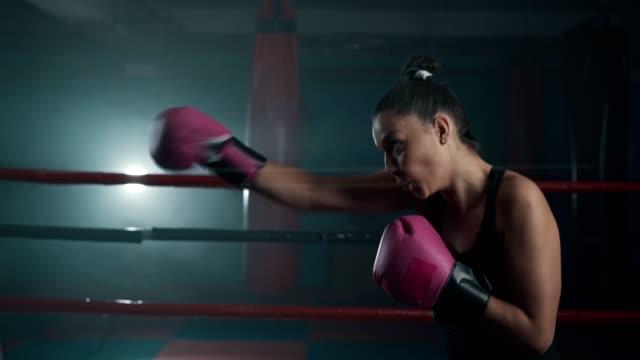 vídeos de stock, filmes e b-roll de encaixotamento fêmea novo da sombra do pugilista - posição de combate