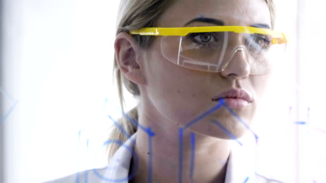 young female chemical - safety glasses stock videos & royalty-free footage