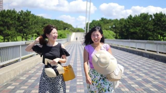 公共の公園で橋の上を歩く若い女性の友人 - 自由点の映像素材/bロール