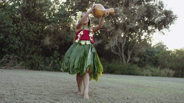 young female hula dancer - hawaiian culture stock videos & royalty-free footage