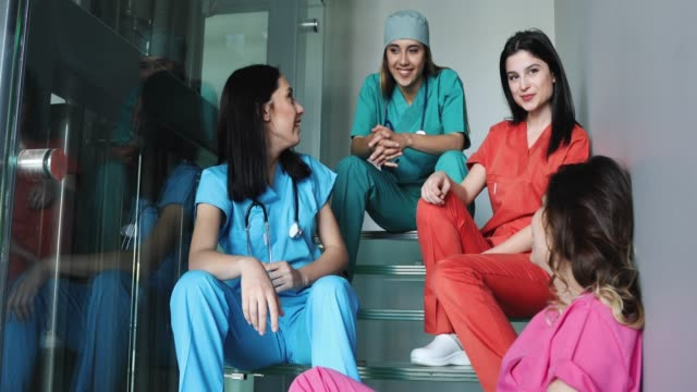 young female medical students having fun at hospital - nursing student stock videos and b-roll footage