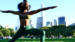 Young Female Practicing yoga in the Central Park, New York