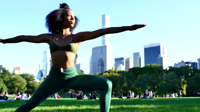 young female practicing yoga in the central park, new york - stretching stock videos & royalty-free footage