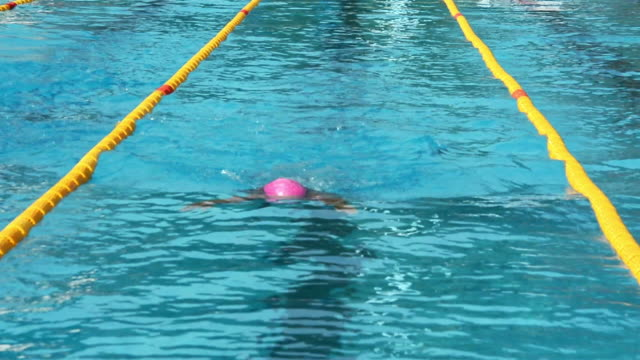 HD: Young female professional swimmer at breast stroke