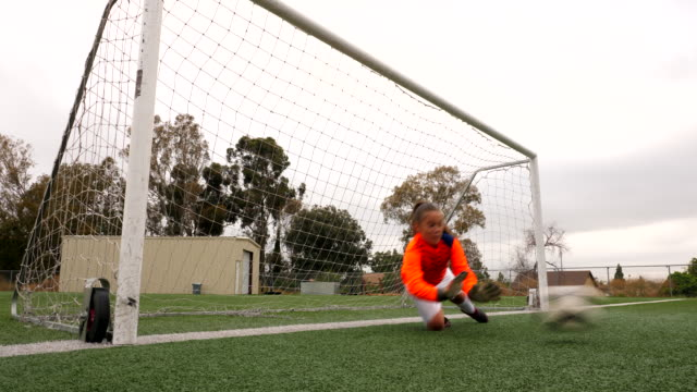 ws young female soccer goalie diving for shot during practice - goalkeeper stock videos & royalty-free footage