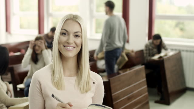 young female student - blonde hair stock videos & royalty-free footage