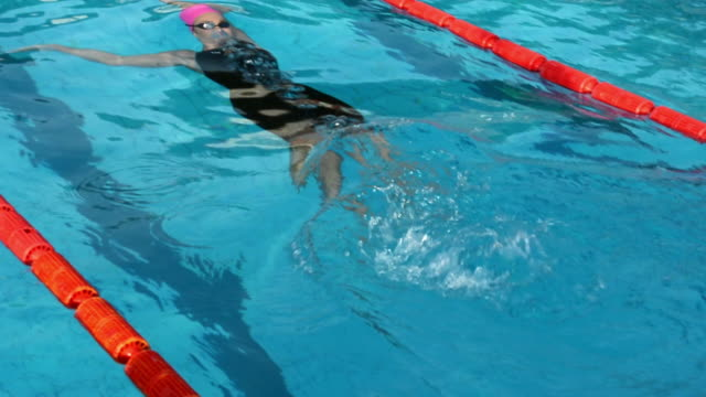 hd: young female swimmer at backstroke - backstroke stock videos & royalty-free footage