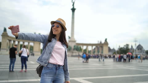 young female tourist making selfies - budapest stock videos & royalty-free footage