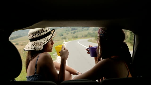 young female travelers make a coffee break on journey - picnic stock videos & royalty-free footage