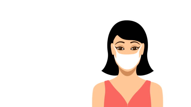 young female wearing protective medical face mask - mascherina chirurgica video stock e b–roll