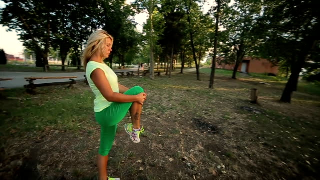 Young female workout before fitness training session,camera stabilization shoot