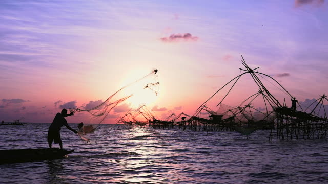 young fisherman preparing net before fishing net on the rock in the jungle as background. silhouette young fisherman outdoor.agriculture concept. - thailand stock videos & royalty-free footage