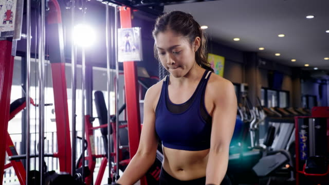 young fitness woman doing biceps curl with e-z bar at the gym, fitness training concept - bicep stock videos & royalty-free footage
