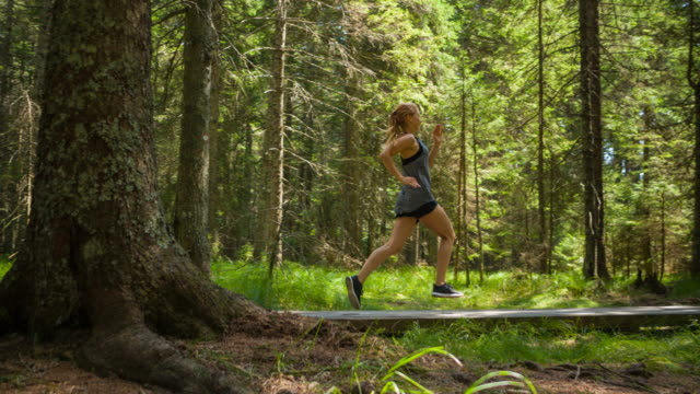 young fitness woman staying healthy and getting fresh air while running through forest - cardiovascular exercise stock videos & royalty-free footage