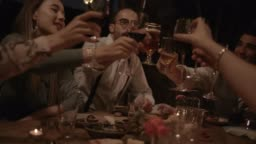 Young friends celebrating and toasting at elegant rustic dinner party