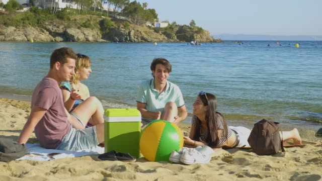 young friends enjoying sunny day at costa brava beach - cool box stock videos & royalty-free footage