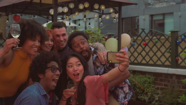 young friends take a selfie - medium group of people stock videos & royalty-free footage