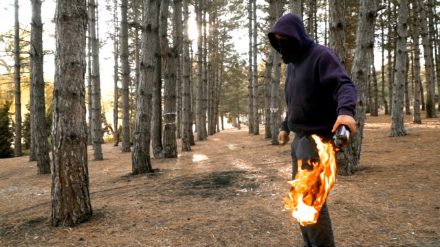 young gangster man with molotov cocktail in forest - molotov cocktail stock videos and b-roll footage