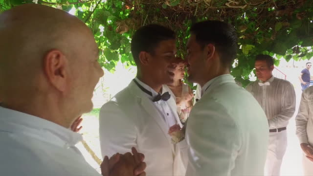 young gay couple first kiss after marriage - homosexual stock videos & royalty-free footage