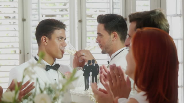 Young gay couple toast with wedding cake